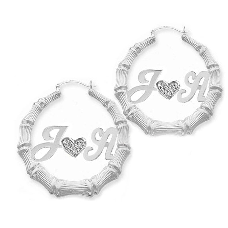 Two Initials and Heart Bamboo Hoop Earrings 2