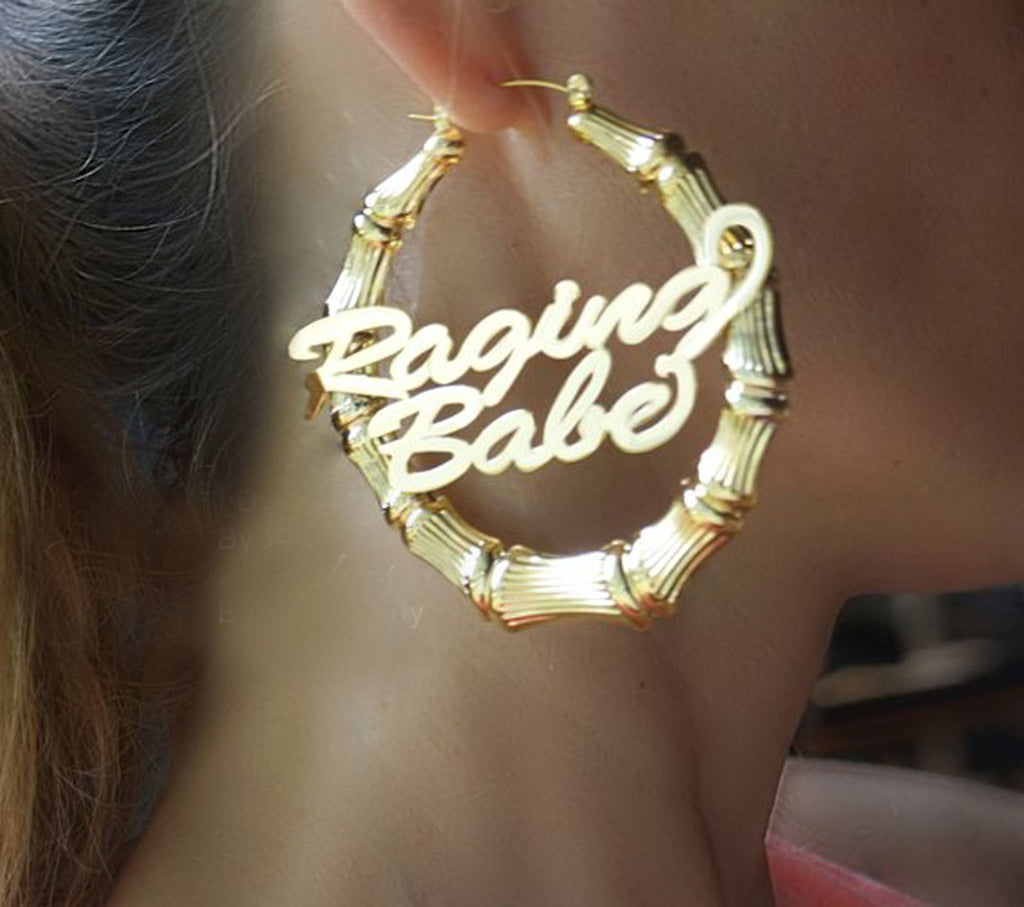 Double Nameplate Bamboo Earrings