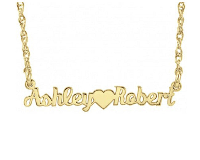 Mini Nameplate Necklace-Two Names and Heart