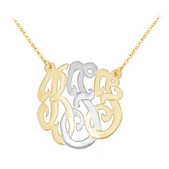 Two Tone Silver and Gold Monogram Necklace