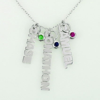 Silver Vertical Mini Nameplate Necklace with Birthstone