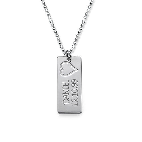 Sterling Silver Vertical Bar Mothers Necklace 4