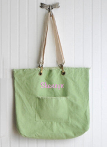 Personalized Washed Cotton Green Tea Tote Bag