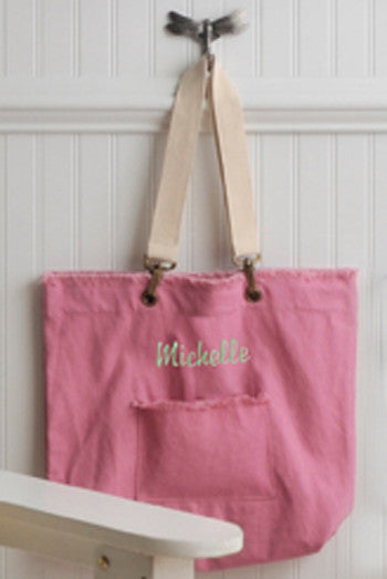Personalized Washed Cotton Cotton Candy Tote Bag