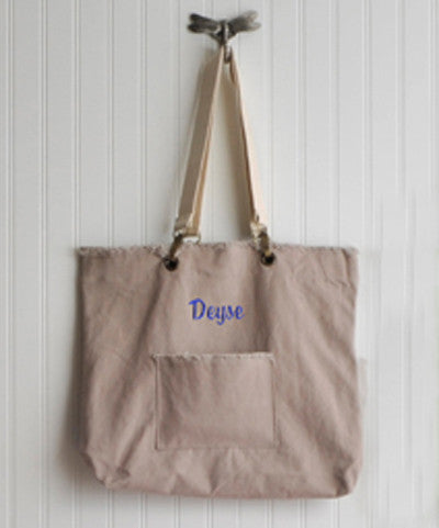 Personalized Washed Cotton Khaki Tote Bag