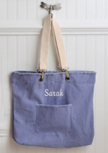 Personalized Washed Cotton Slate Tote Bag