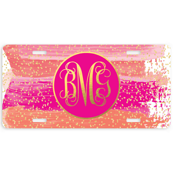 Monogram License Plate Anchor Pink Stripes Personalized Car Tag New