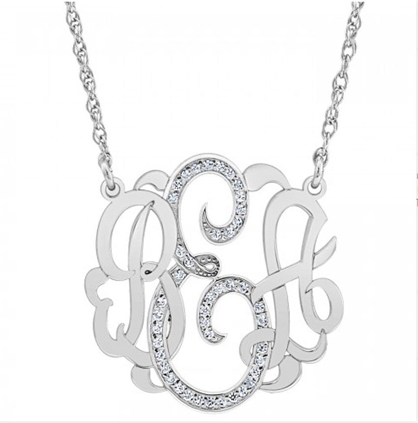 white gold diamond monogram necklace