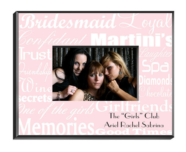 Personalized Bridesmaid Frame White On Pink