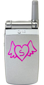 Heart With Wings Cell Phone Monogram Decal