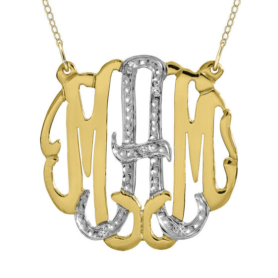 Gold Cz Monogram Necklace