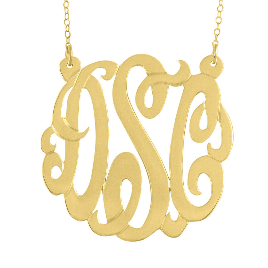 24K Gold Plated Monogram Necklace Split Chain Alternate 1