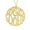 24K Gold Plated Fancy Script Monogram Necklace Alternate 1