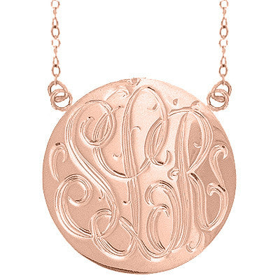 24K Rose Gold Plated Hand Engraved Necklace Split Chain