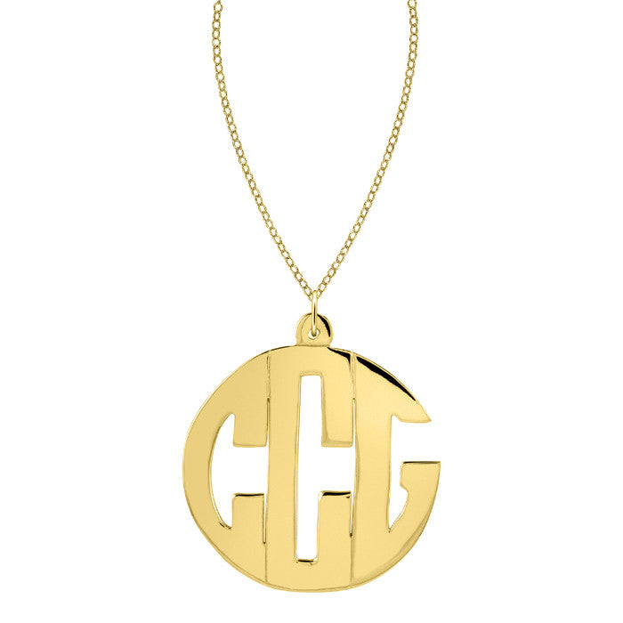 24K Gold Plated Block Monogram Necklace