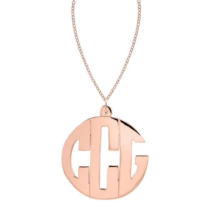 24K Gold Plated Block Monogram Necklace Alternate 2