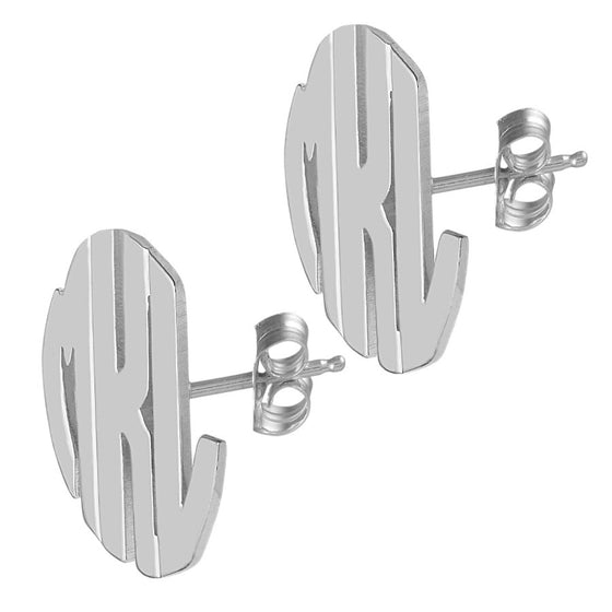 Sterling Silver Block Monogram Stud Earrings