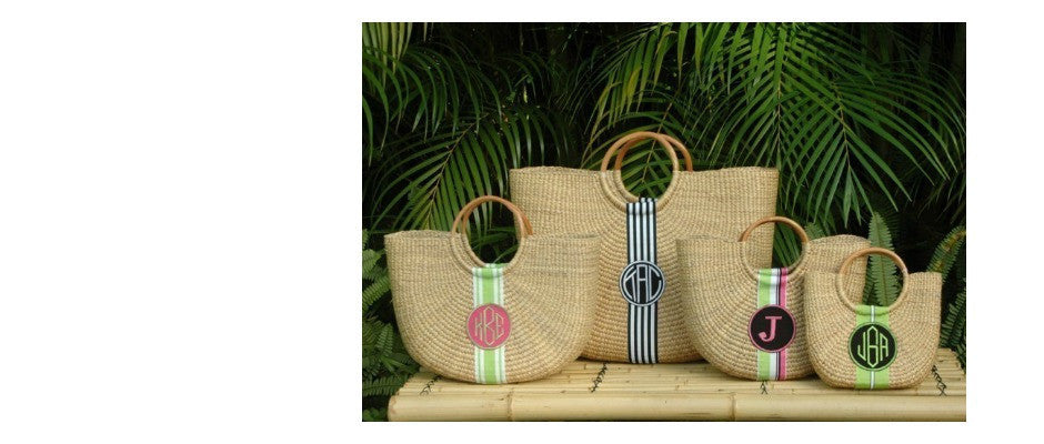 Monogram Straw Bag