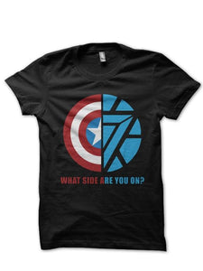 Sheild Vs Arc Reactor Black T Shirt 1