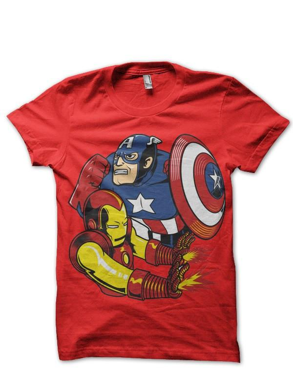 Steve And Tony Red T Shirt