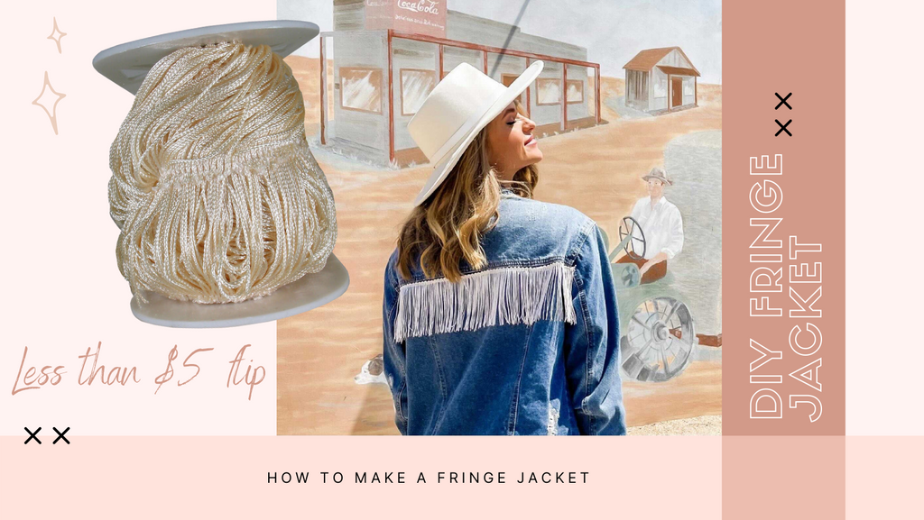 How to make a DIY fringe denim jacket. How to add fringe to a jacket. Cheap and easy upcycle clothing.
