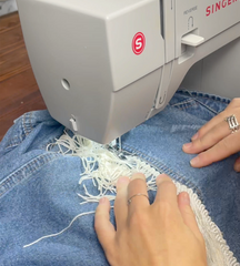 How to thrift flip a jacket - adding fringe to a jean jacket.