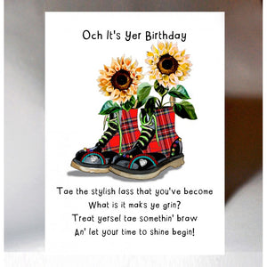Scottish Birthday Card Stylish Lass