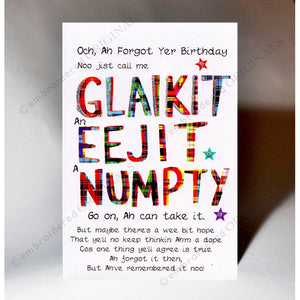 Belated Birthday Card 'Glaikit, Eejit, Numpty'