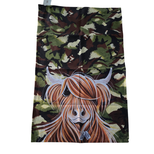 Mcmoo Camouflage Highland Cow Scottish Tea Towel