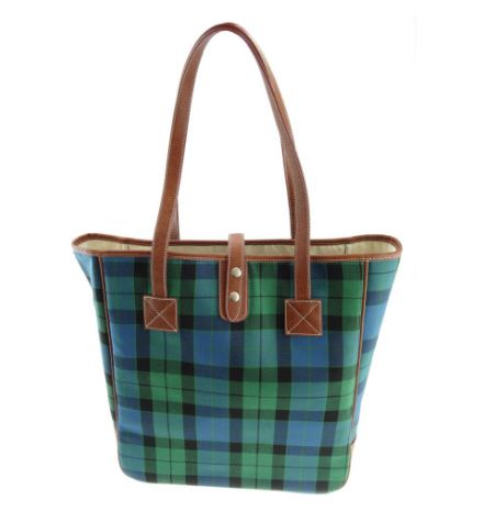 Turquoise Check Harris Tweed Cassley Bag