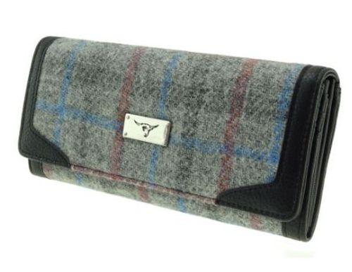 Grey Check  Harris Tweed Bute Purse