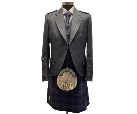Midnight Blue Tweed Crail Jacket and Waistcoat
