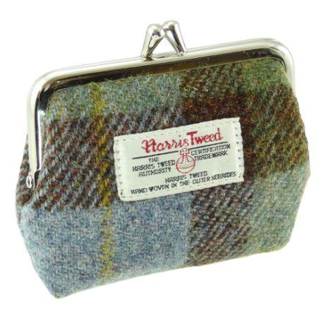 Green Check Harris Tweed Small Clasp Eigg Purse