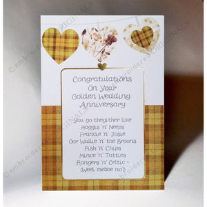 Scottish Card Golden Wedding Anniversary