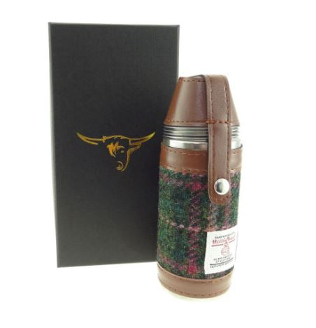 Dark Green and Pink Check Harris Tweed Hunting Flask 8oz