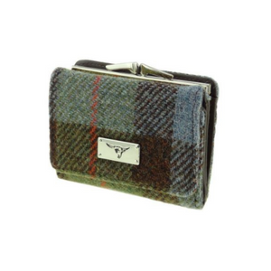 Green Check Harris Tweed Small Clasp Unst Purse