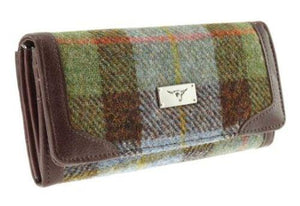Green Check  Harris Tweed Bute Purse