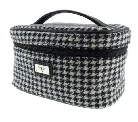 Dogtooth Black White Check Harris Tweed Cosmetic Toiletry Bag
