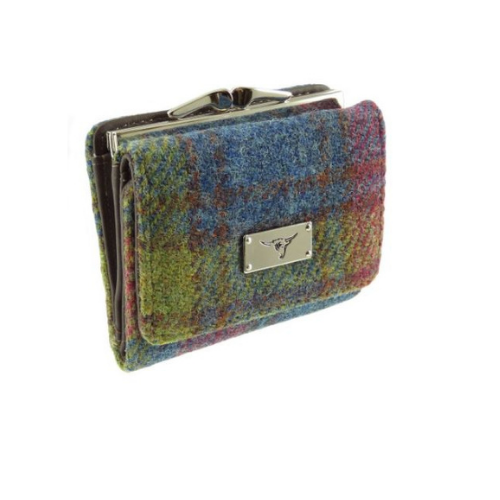 Multi Check Harris Tweed Small Clasp Unst Purse