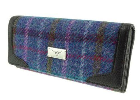 Blue Check  Harris Tweed Bute Purse
