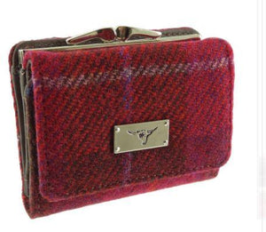Raspberry Check Harris Tweed Small Clasp Unst Purse
