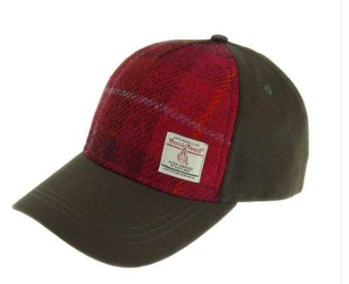 Deep Pink Check Harris Tweed Baseball Cap