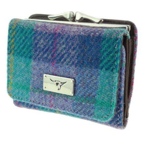 Turquoise Check Harris Tweed Small Clasp Unst Purse