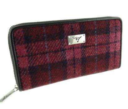 Raspberry Check Harris Tweed Staffa Purse