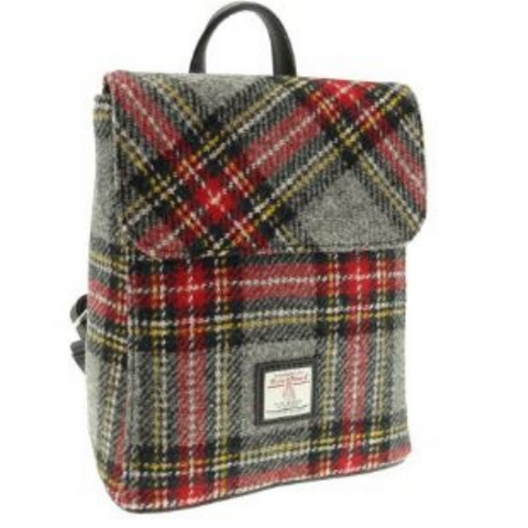 Grey & Red Check Harris Tweed Tummel Backpack