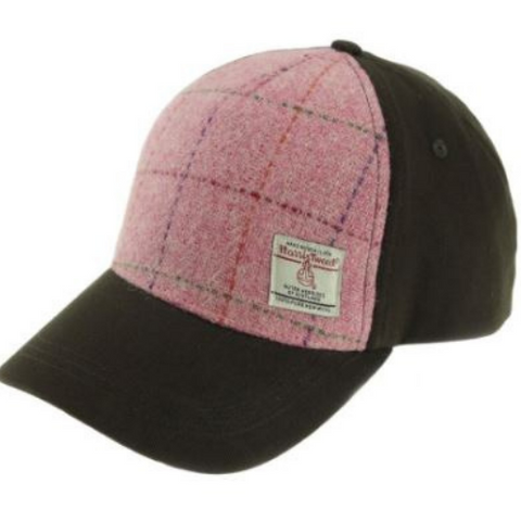 Pink Check Harris Tweed Baseball Cap Col 68