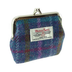 Blue Check Harris Tweed Small Clasp Eigg Purse