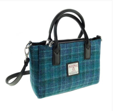 Sea Blue Check Harris Tweed Brora Bag