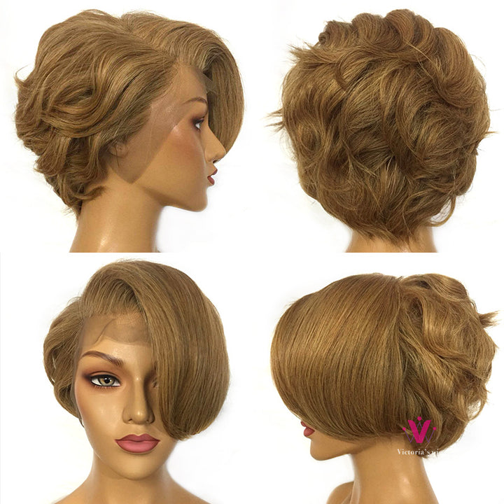 Selina | Pre-made 13*6 Lace Front Wig Special Design 10inch Honey Brown Wigs