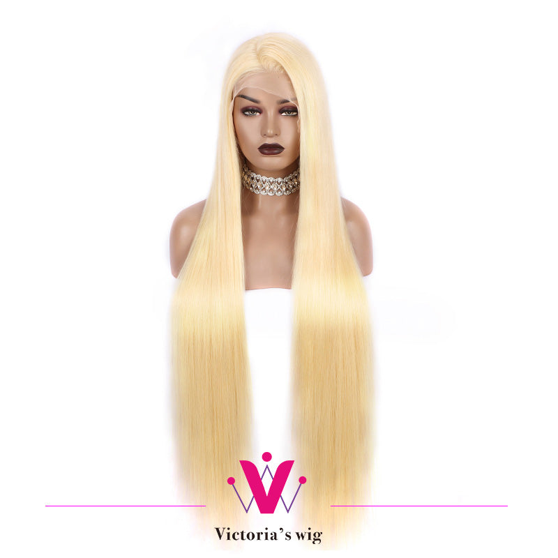 613 Blonde GLUELESS 13*6 Lace Front Wig Long Human Hair Pre-Plucked